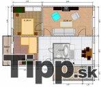 Pôdorys 3-izbového bytu s veľkou komorou a balkónom
